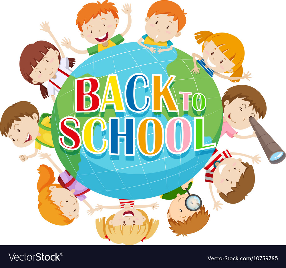 Back to school theme with kids around the globe Vector Image