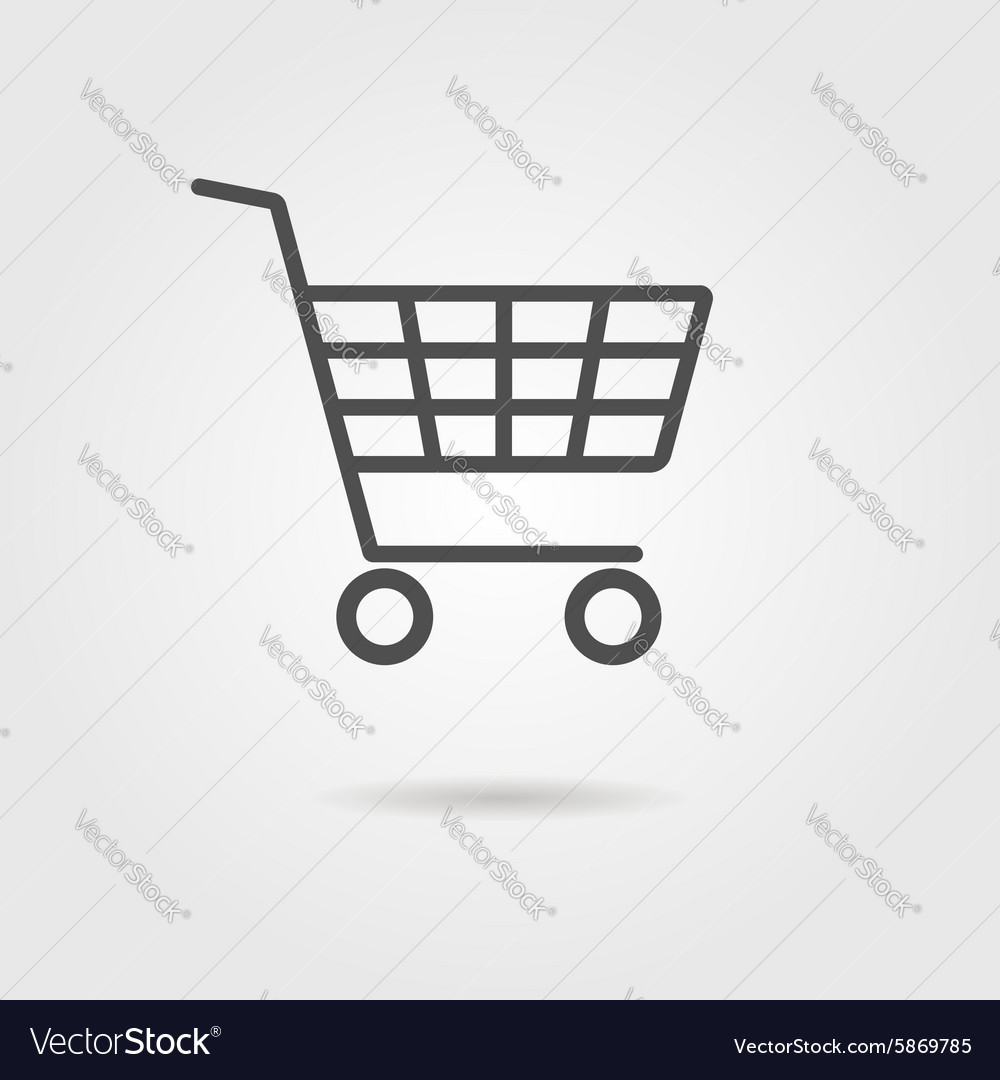 Black shopping trolley with shadow