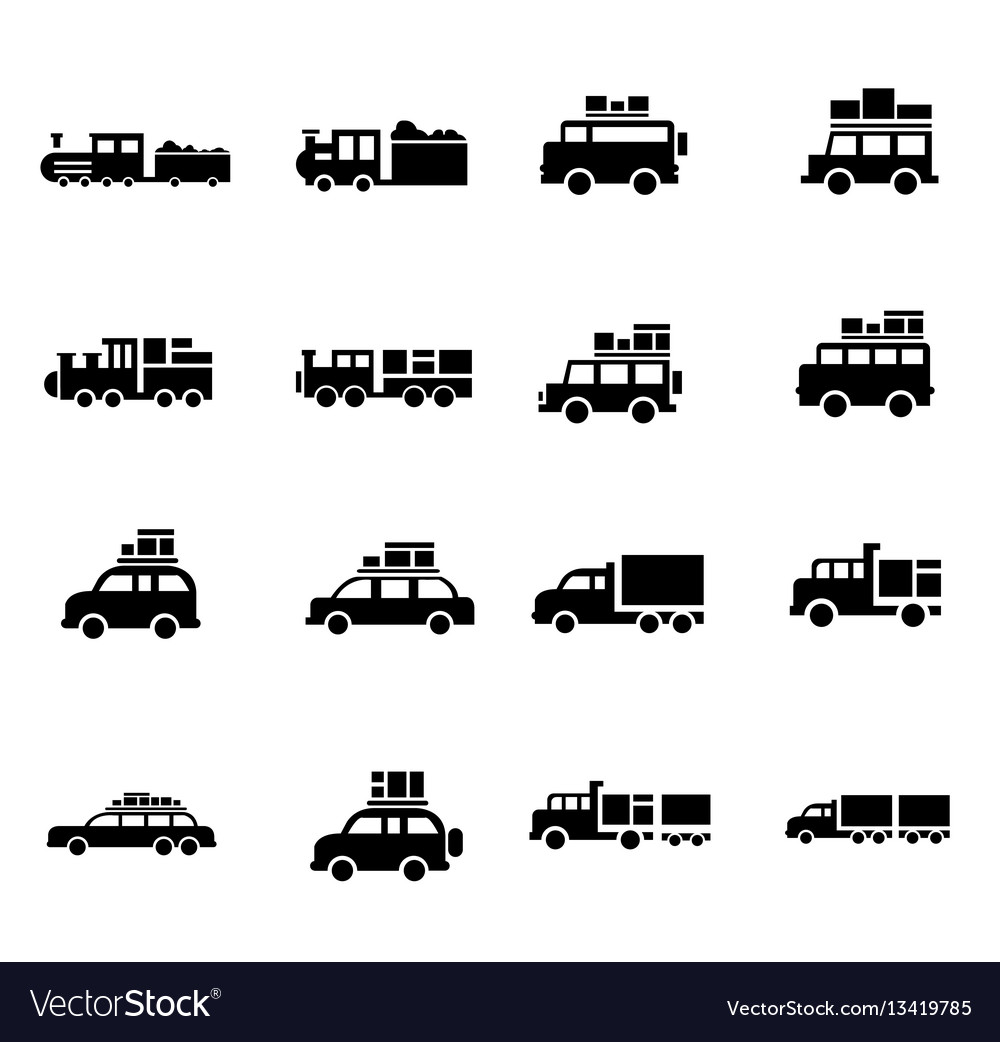 Carand train logistics and transport icons