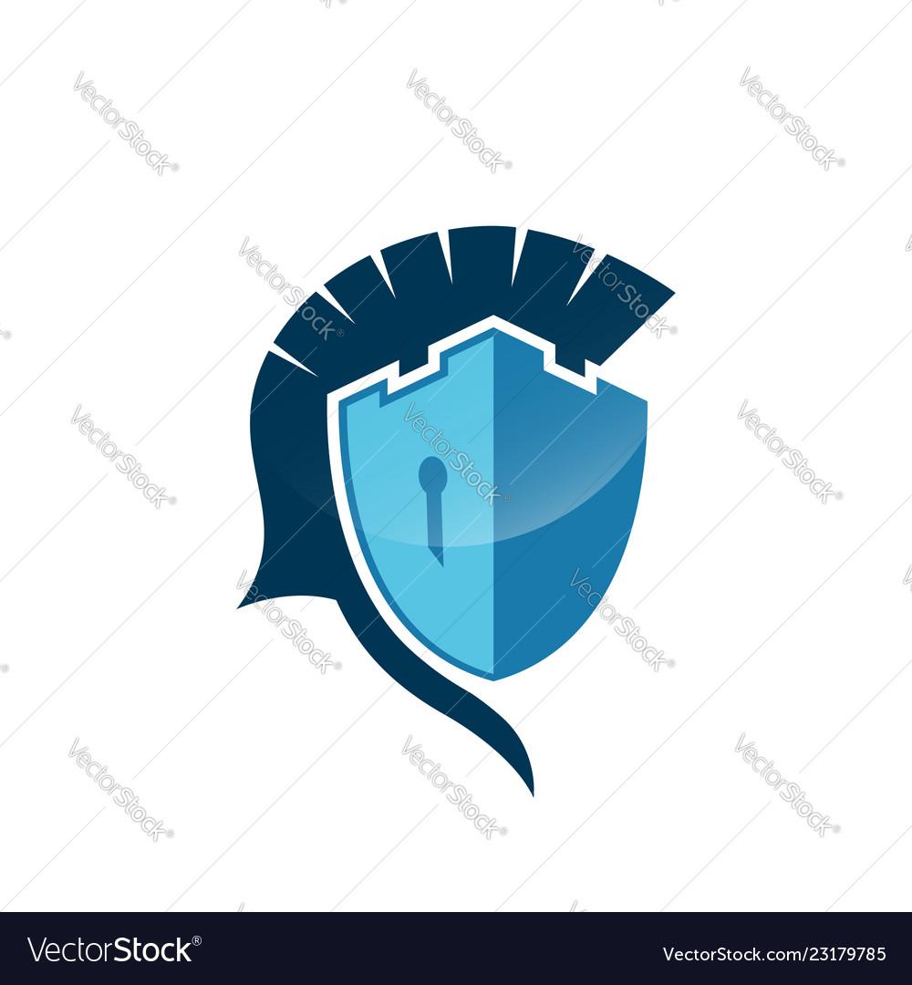 Castle spartan shield logo template danger skull