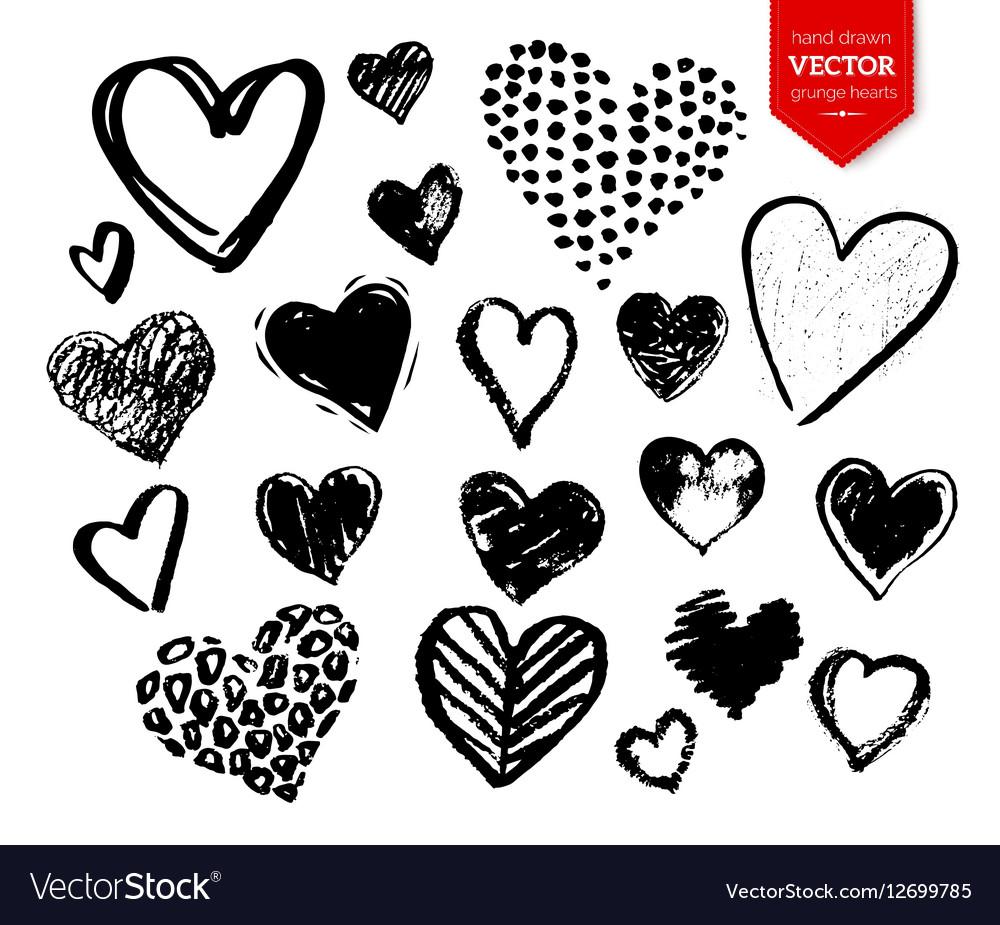 Collection of black grunge Valentine hearts