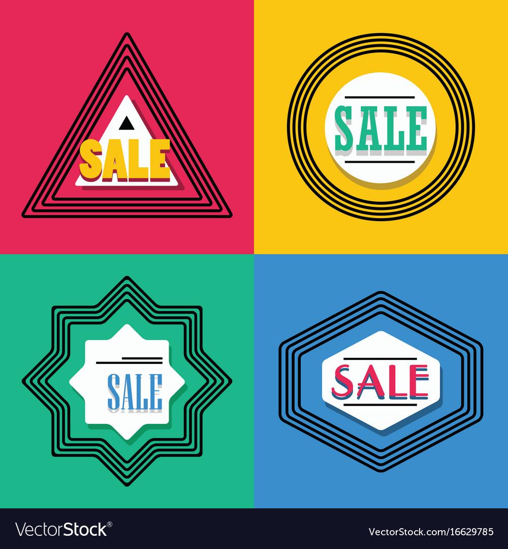 Geometrical line shapes sale emblems icons set