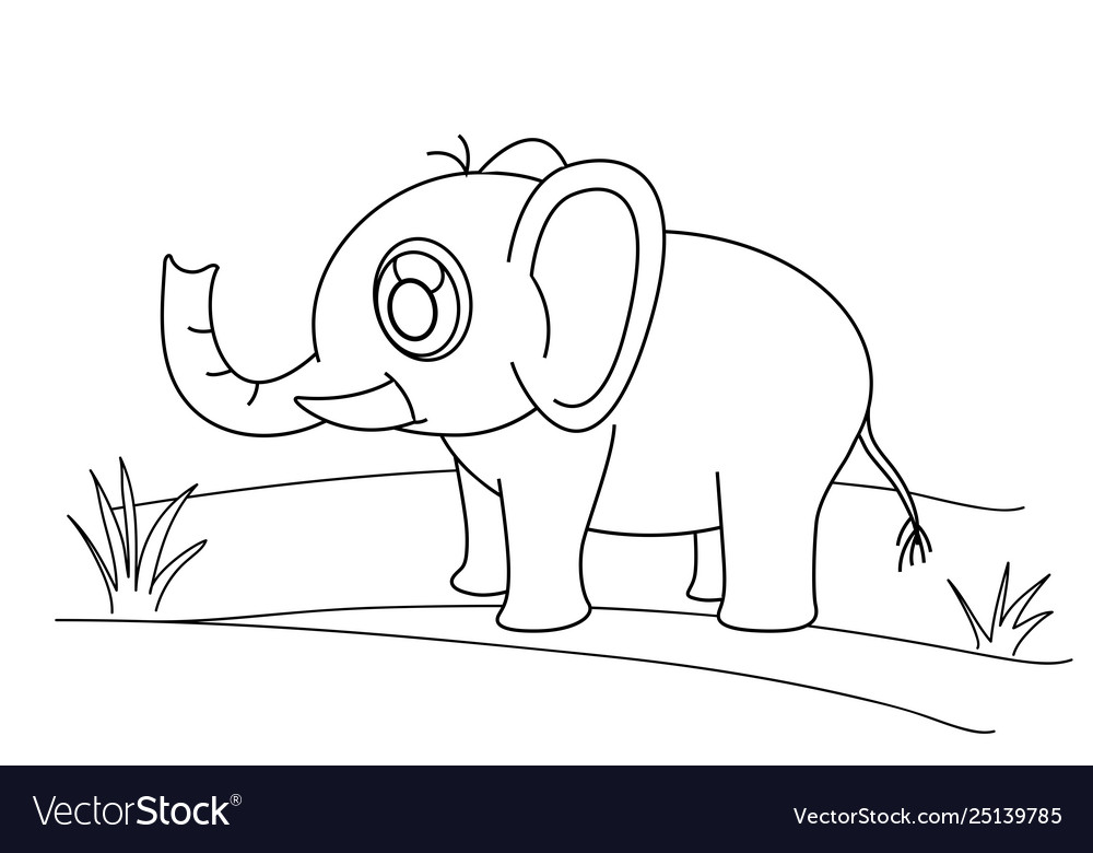 Line drawing elephant and grass for kids painting
