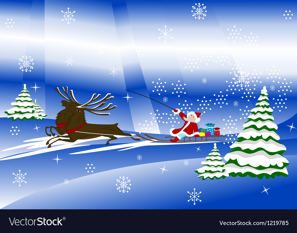 Santa Claus with christmas deer and presents