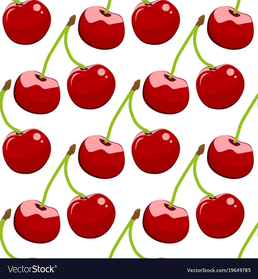 Seamless background cherry on a white background
