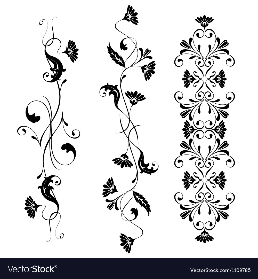 Set swirling decorative floral elements