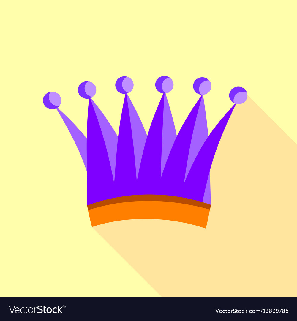 Violet queen crown icon flat style