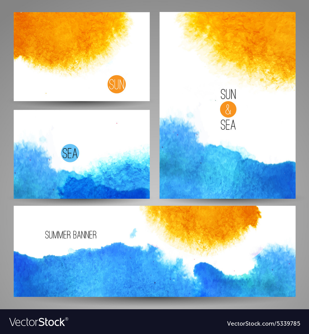 Watercolor sea background poster or card template