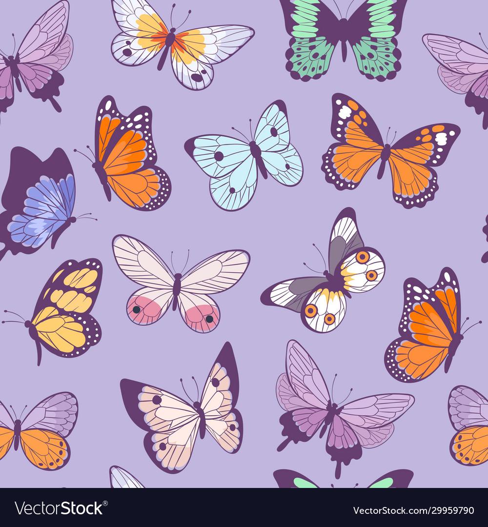 Butterflies seamless pattern flying beautiful