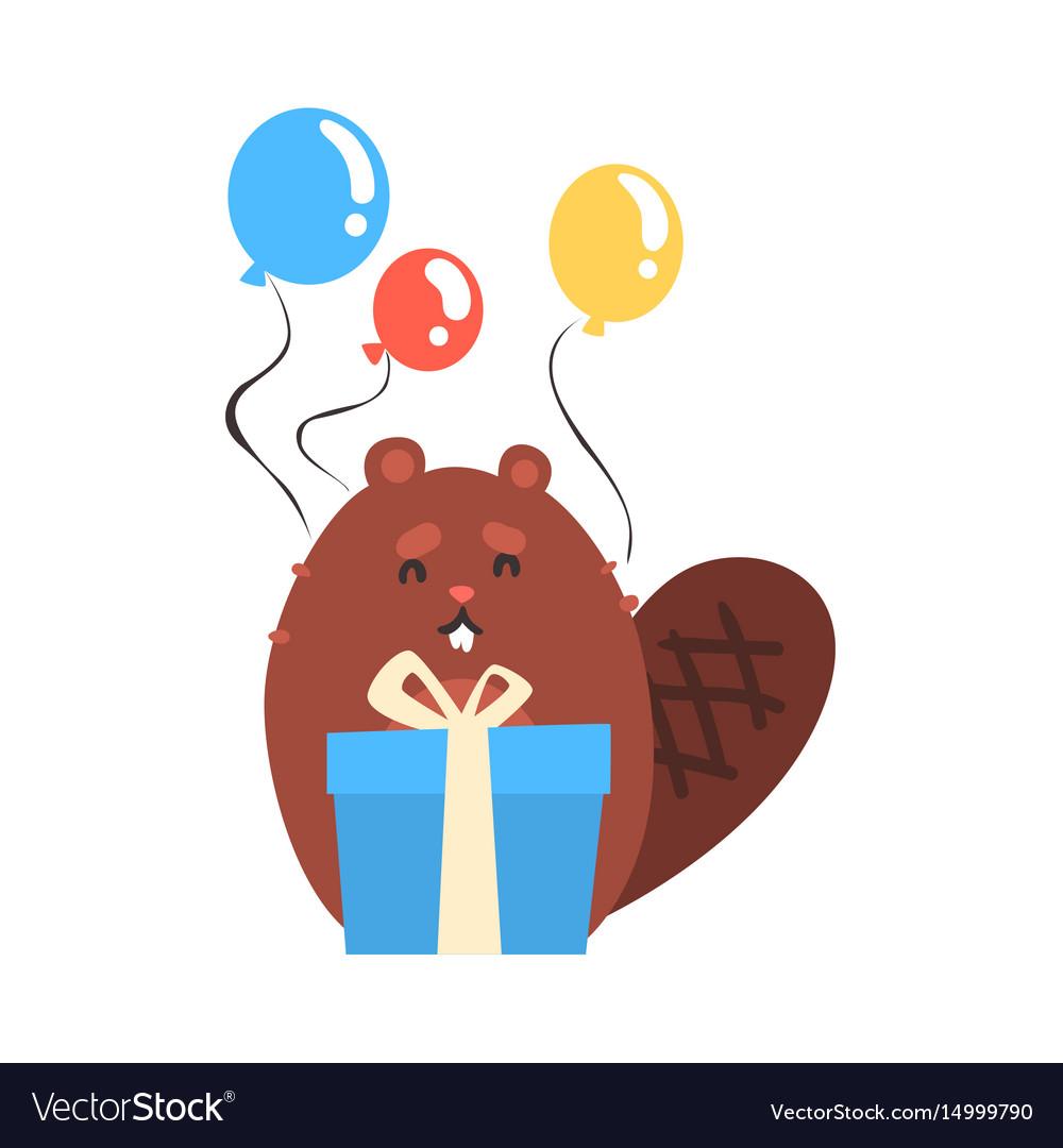 Открытка бобр с днем рождения