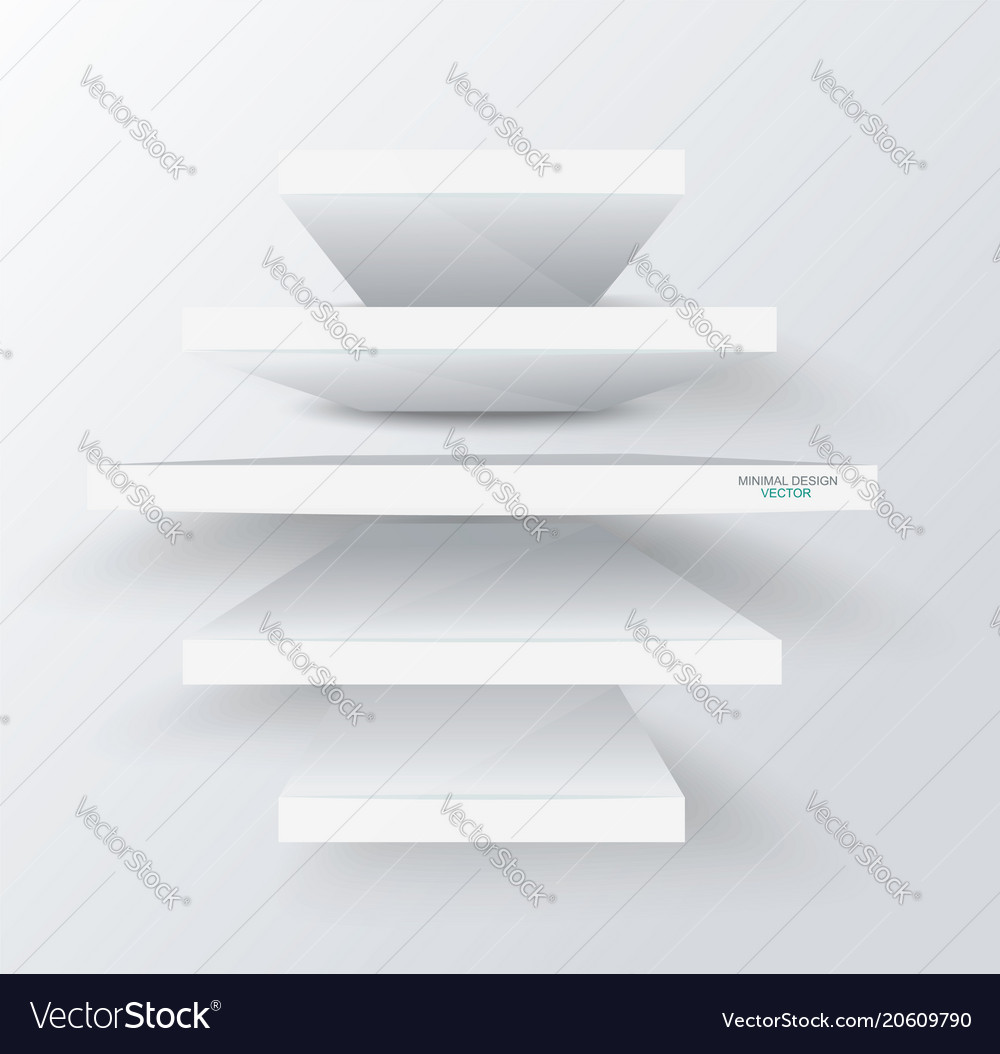 Empty white shelves on clean background front vector image