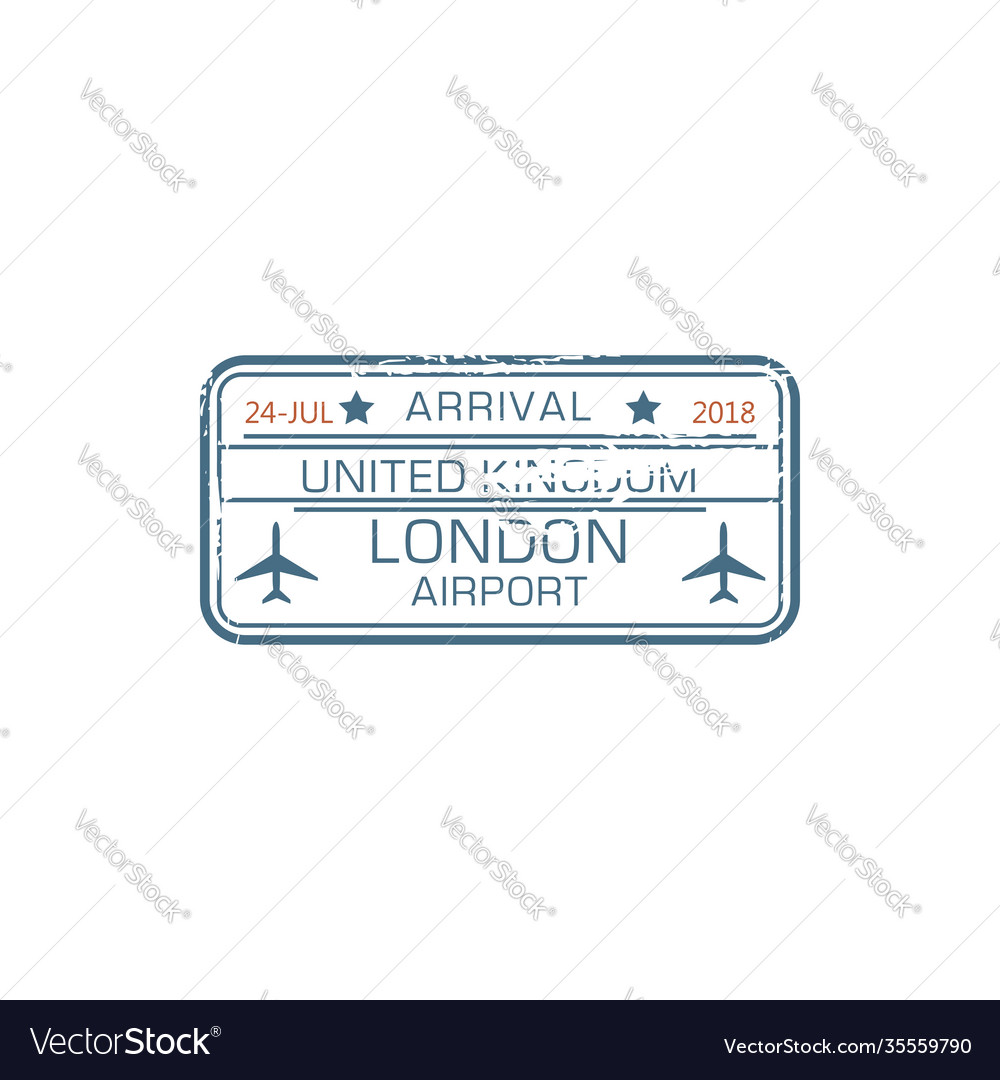 London airport arrival stamp border control seal