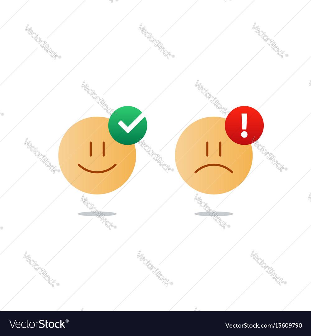 Opposite emotions smile emoji sad icon customer vector image