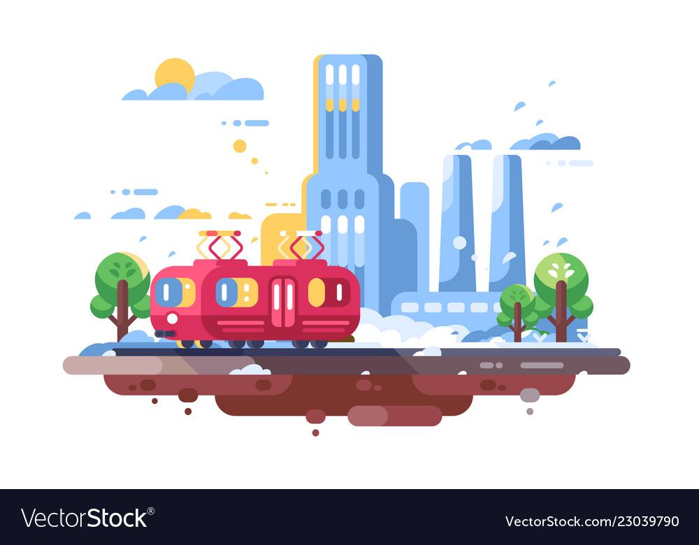 Retro tram on cityscape background