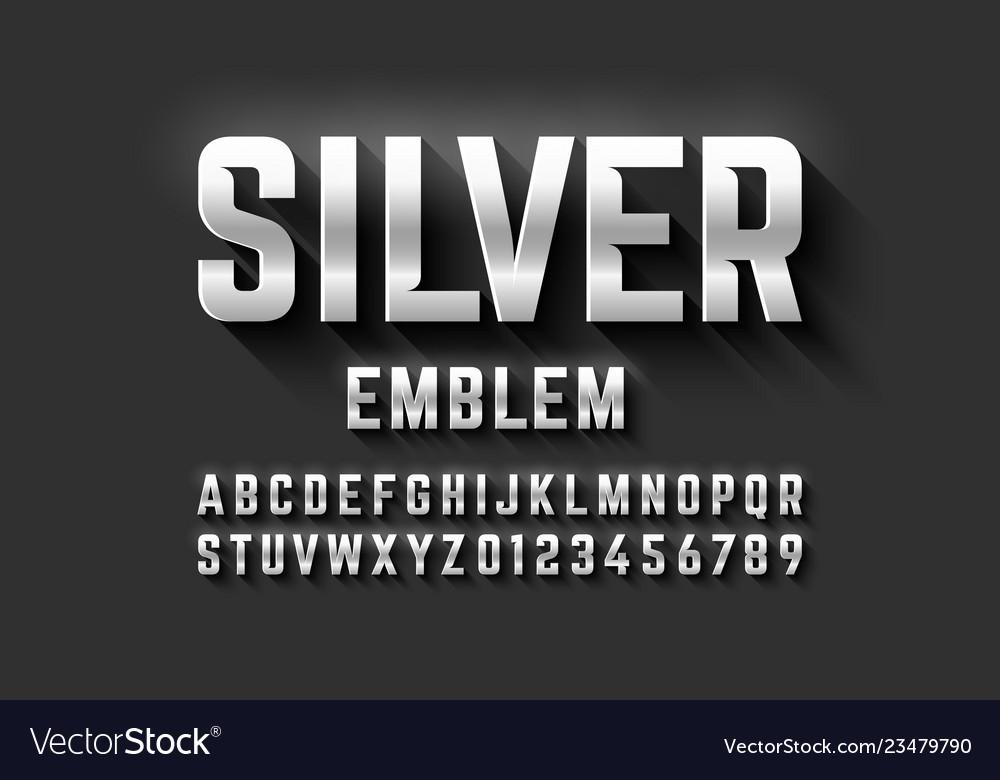 Silver emblem style font metallic alphabet