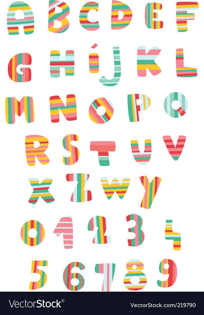 Striped alphabet vector image