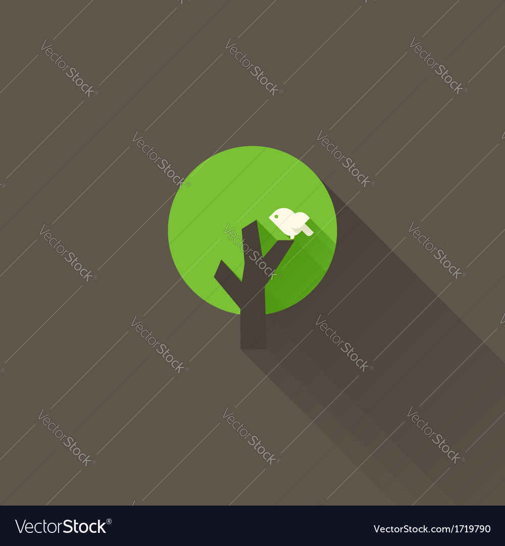 White bird and green tree on a brown background