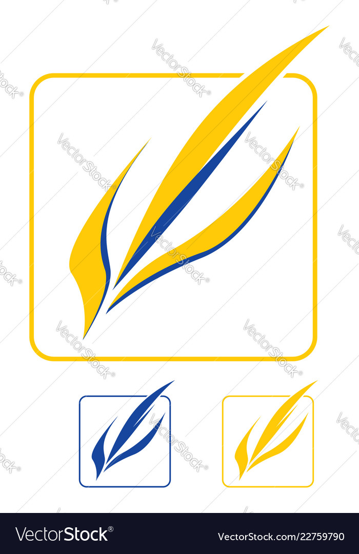 Yellow-blue leaves logo template graphic element
