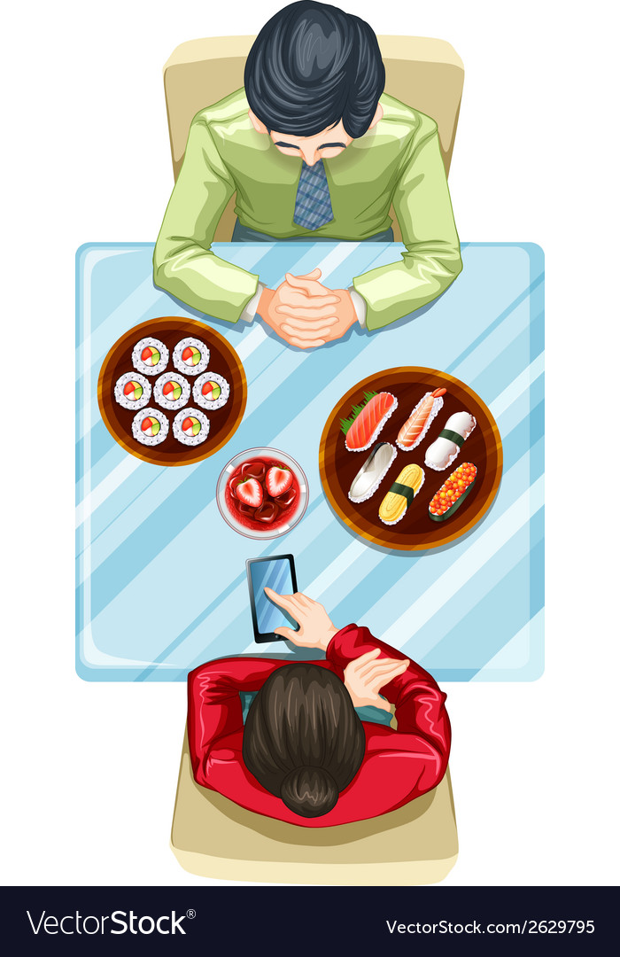 A topview of two people eating sushi