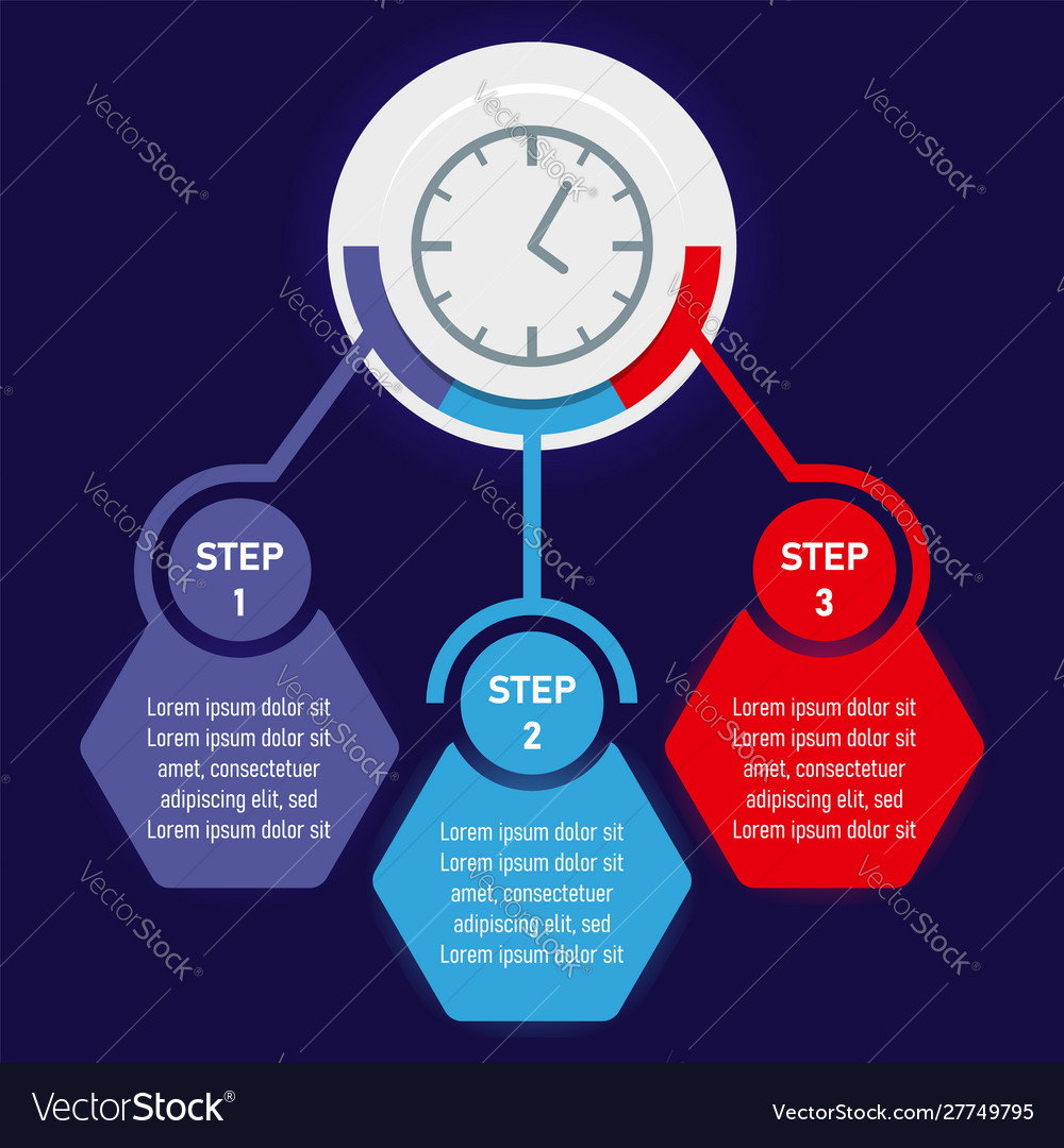 Abstract clock with colored elements of