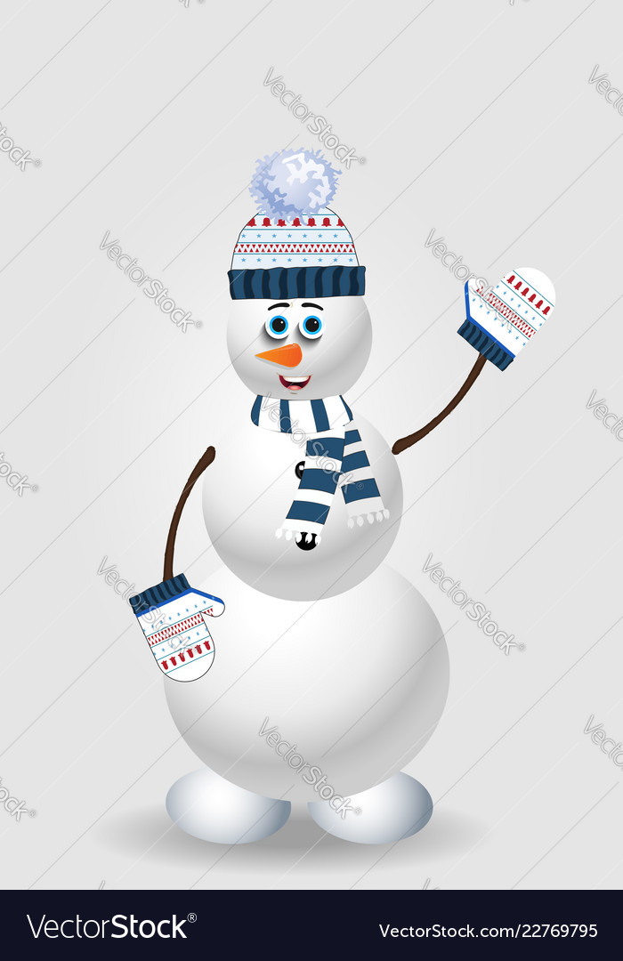 Cartoon snowman character in blue knitted hat on