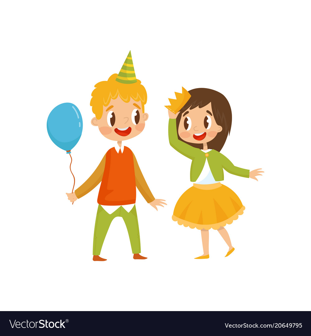 Cute girl and boy at birthday party boy in party