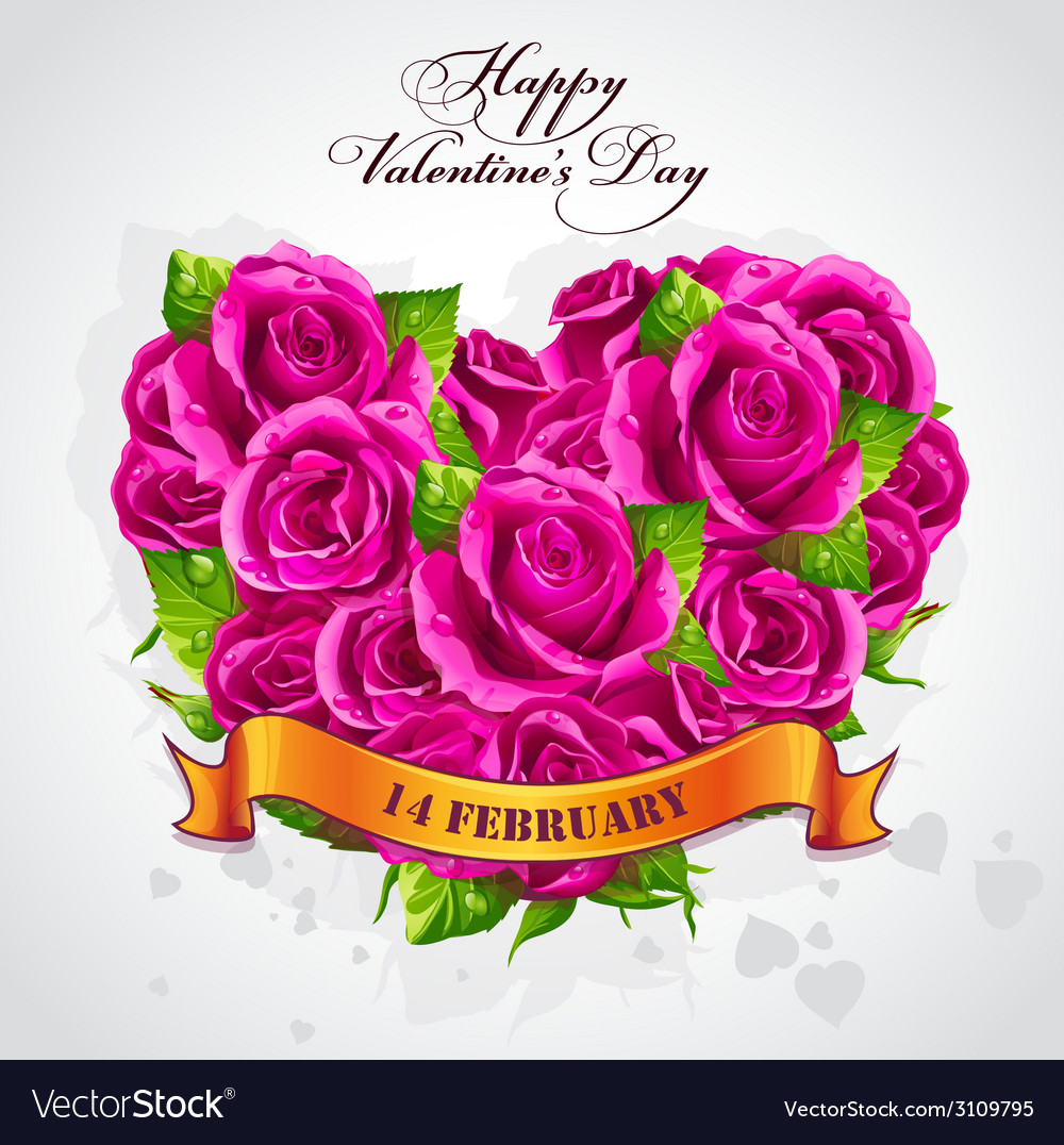 Greeting card Happy Valentines Day heart of rose
