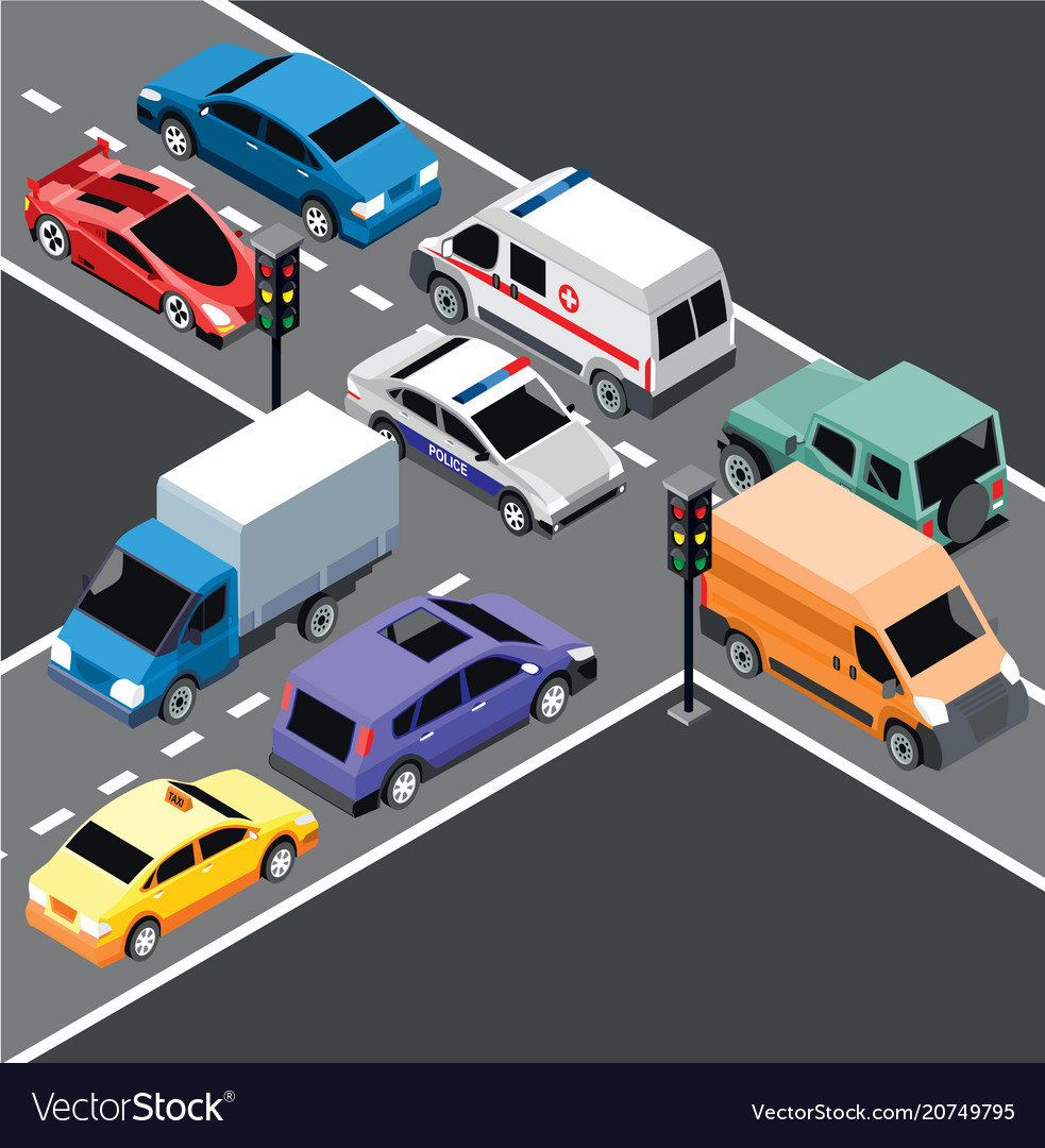 Isometric city transport template