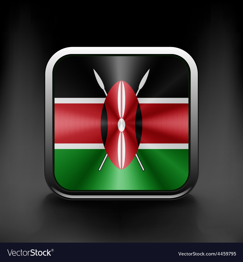 Kenya Flag square glossy button national white