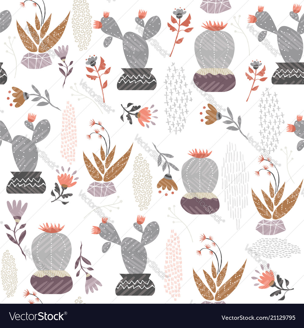 Mexican cactus plant seamless pattern art