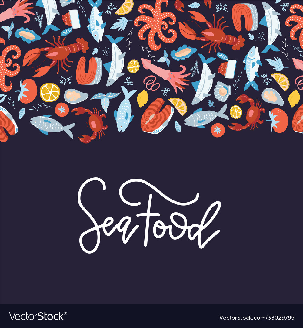 Sea food frame flat hand drawn menu cover design