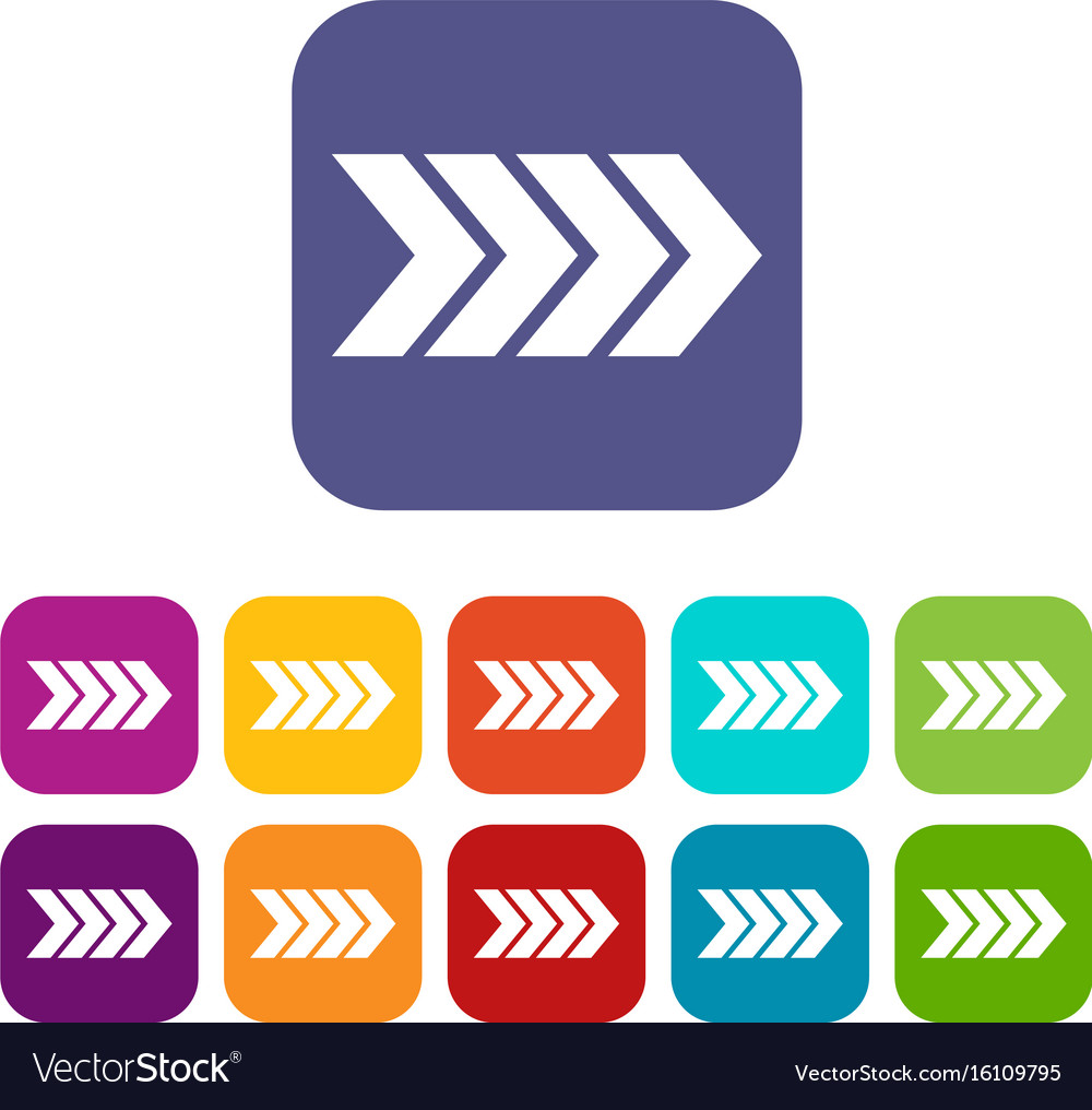 Striped arrow icons set vector image