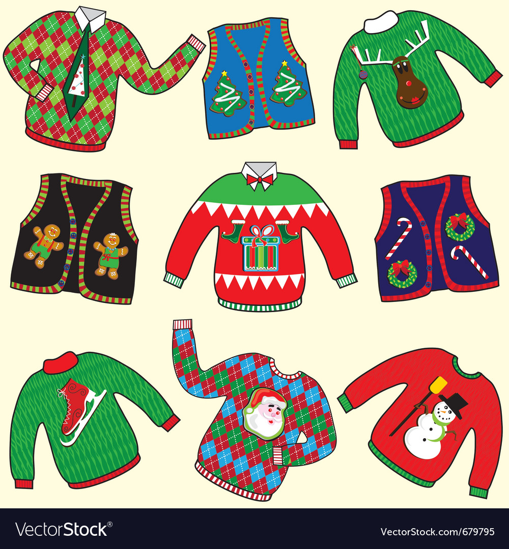 Ugly christmas sweaters vector image