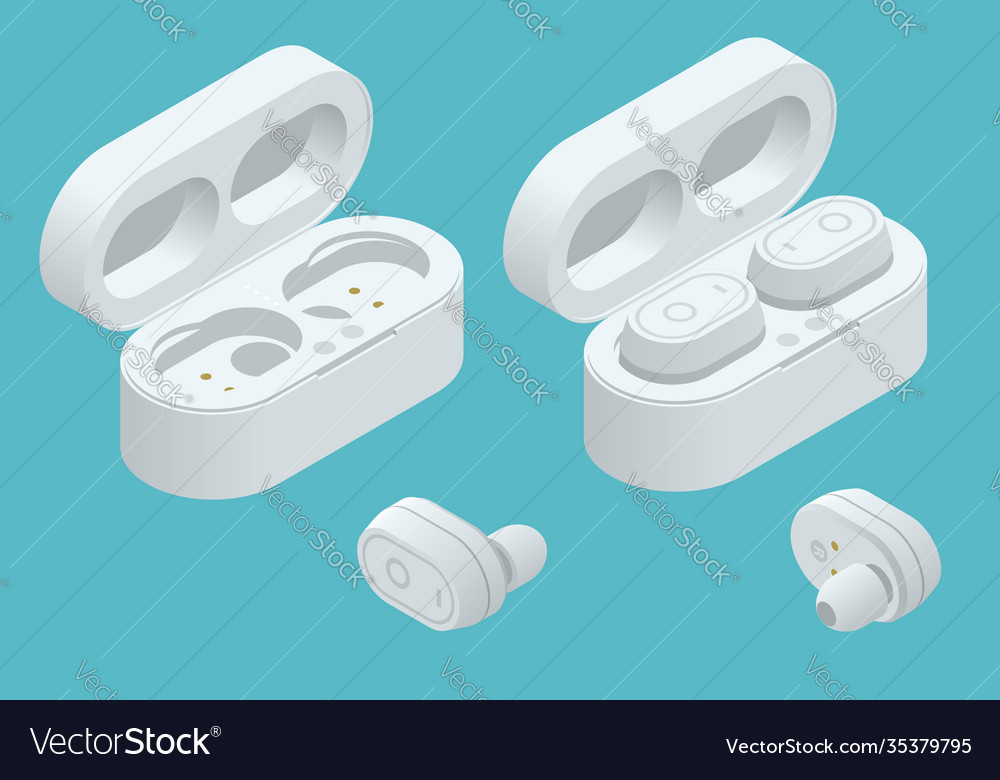 White wireless earphones and case isolated