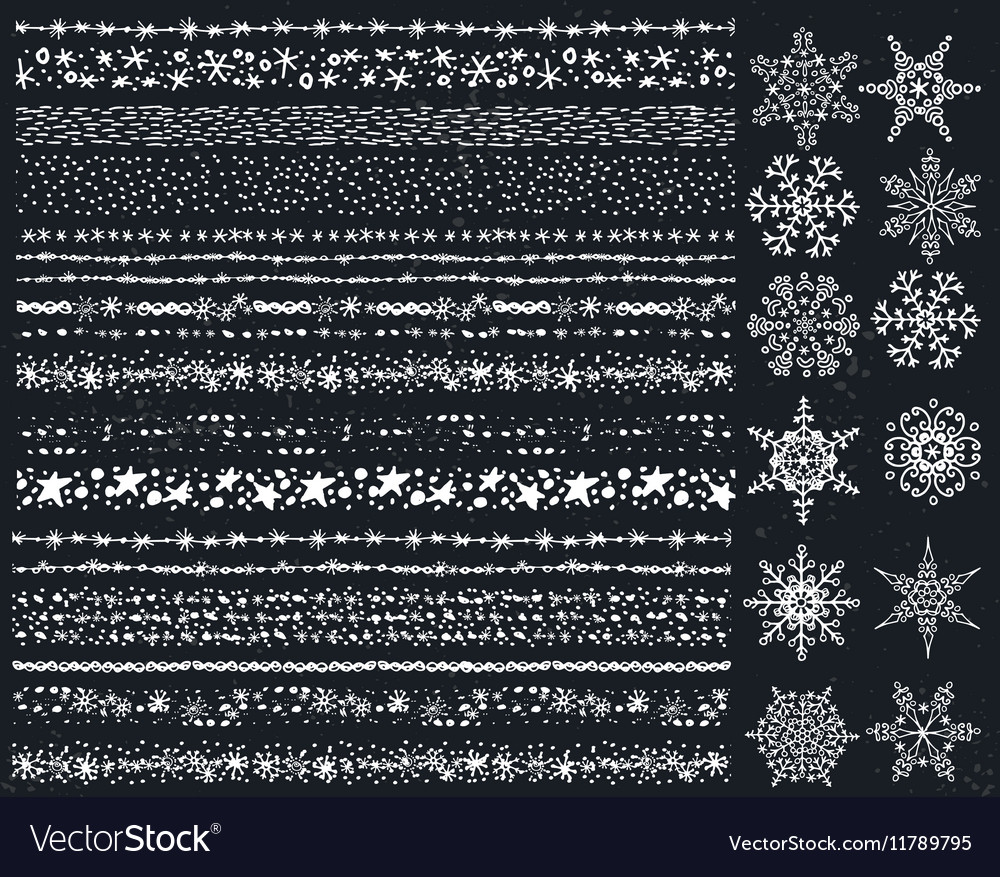 Winter snow seamless borderssnowflakes setChalk vector image