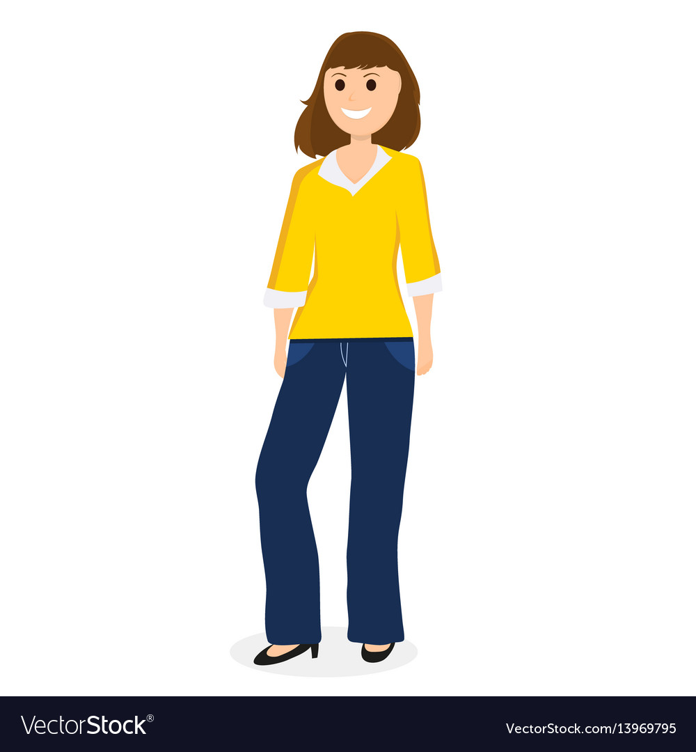 Young cartoon woman on a white background vector image