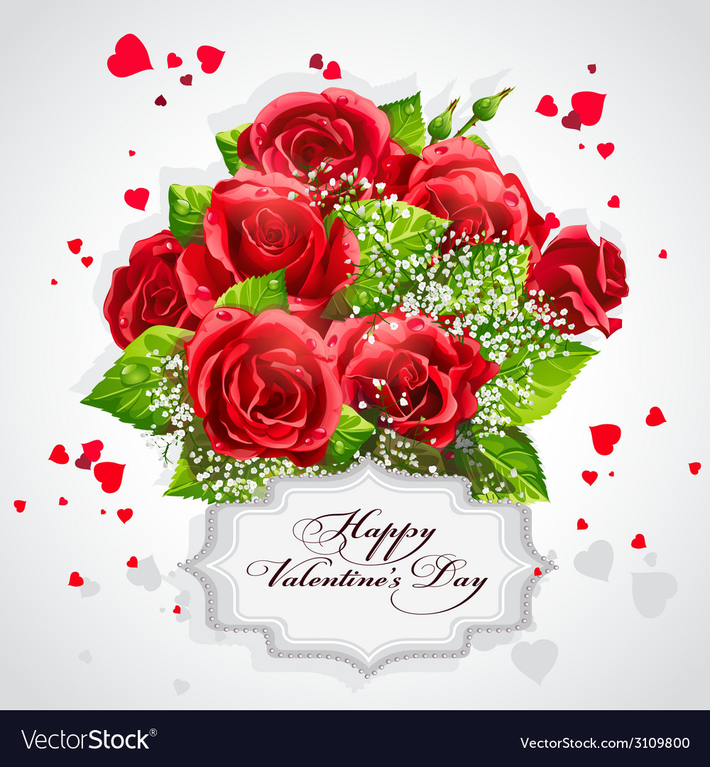 Card For Valentines Day Heart Of Red Roses Vector Image On Vectorstock