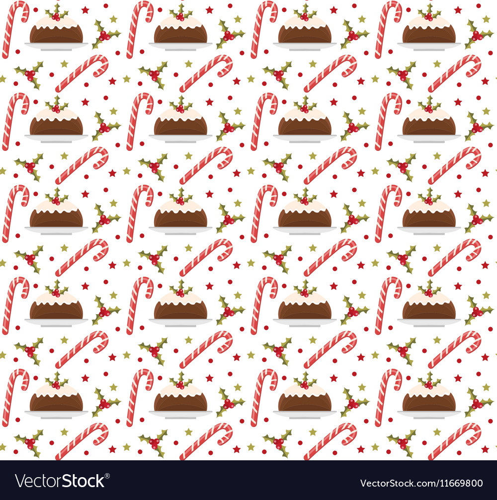 Christmas seamless background with holly candy