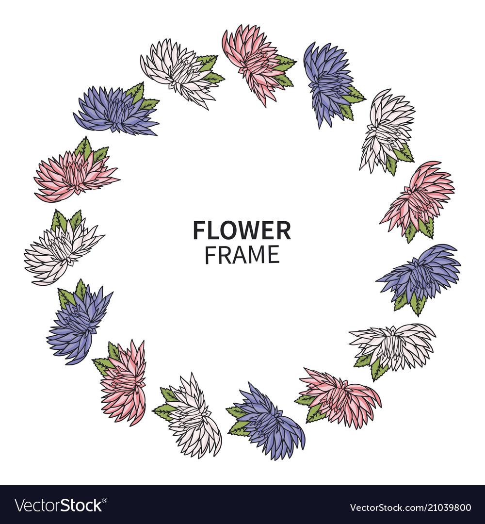 Chrysanthemum flower frame floral wreath print
