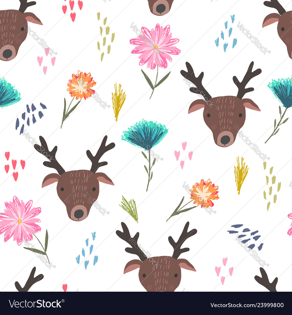 Cute cartoon pattern with deers dots and flowers