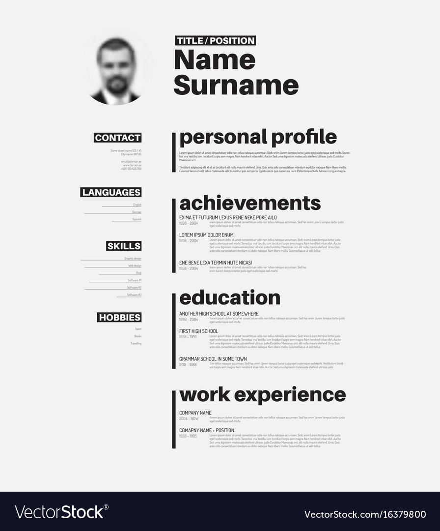 Cv resume template with nice typography