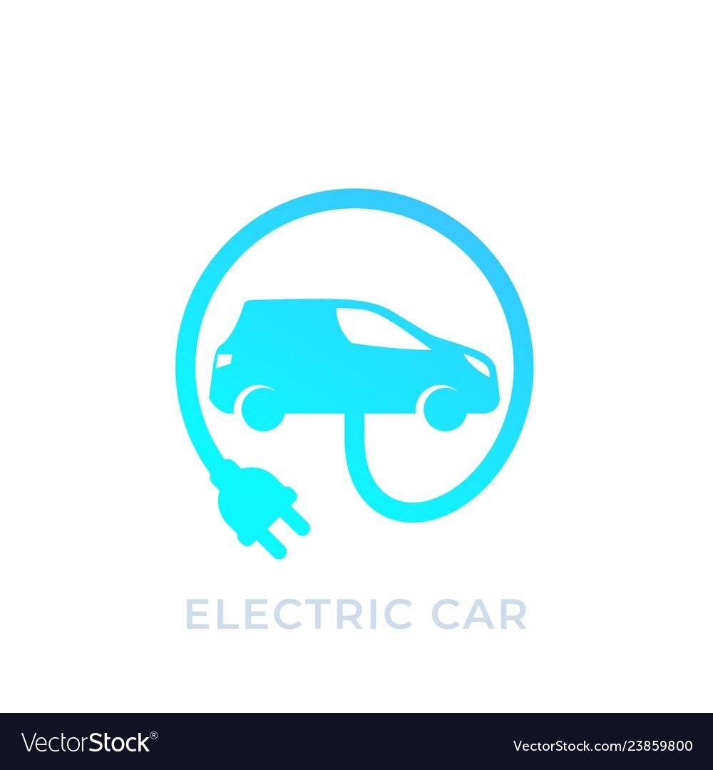 Electric Car With Plug Ev Icon Royalty Free Vector Image