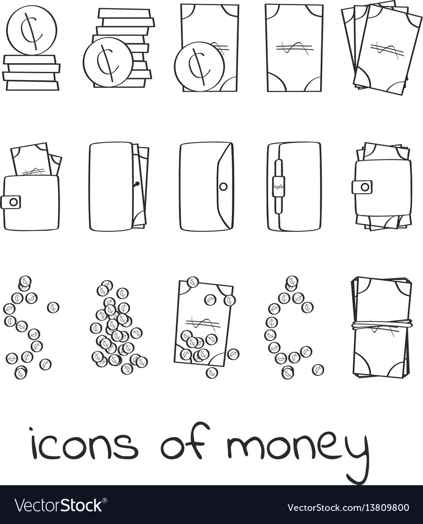 Hand draw money icons collection of linear signs