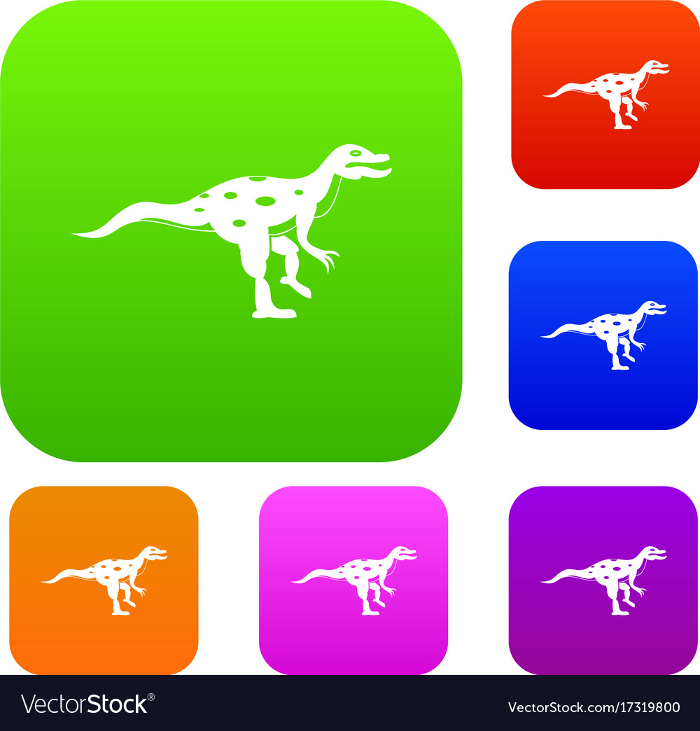 Ornithopod Dinosaur Set Color Collection Vector Image