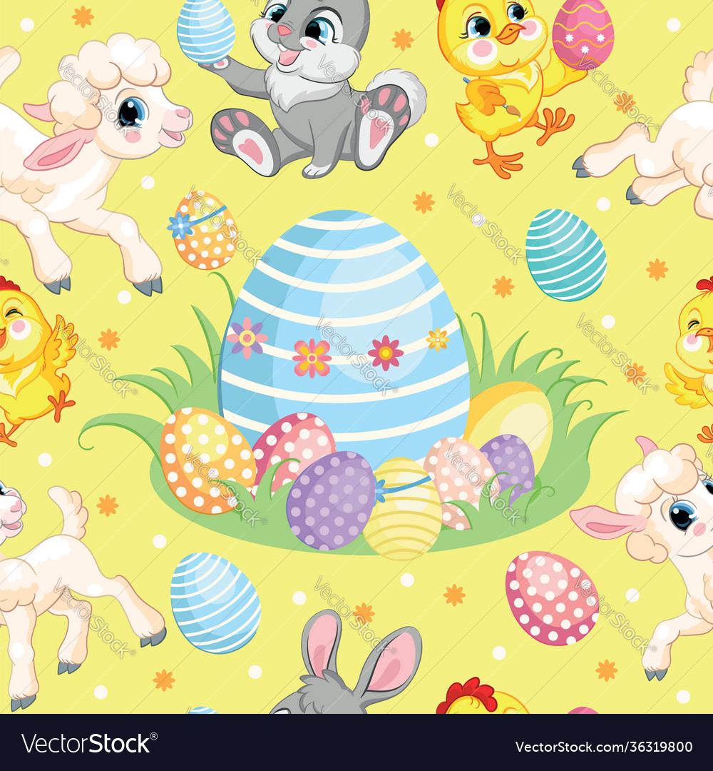 Seamless pattern lambs bunnies and big easter egg