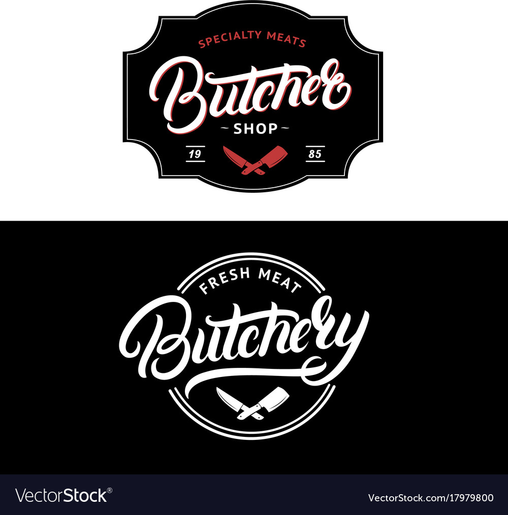 set of butcher shop and butchery lettering logo vector image rh vectorstock com butcher's logopedia butcher logo inspiration