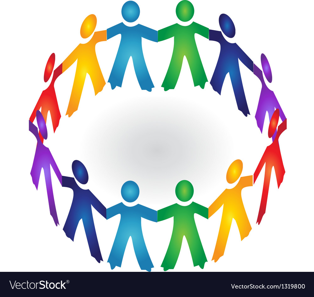 teamwork holding hands logo royalty free vector image rh vectorstock com People Holding Hands Logo People Holding Hands Hearts Logo