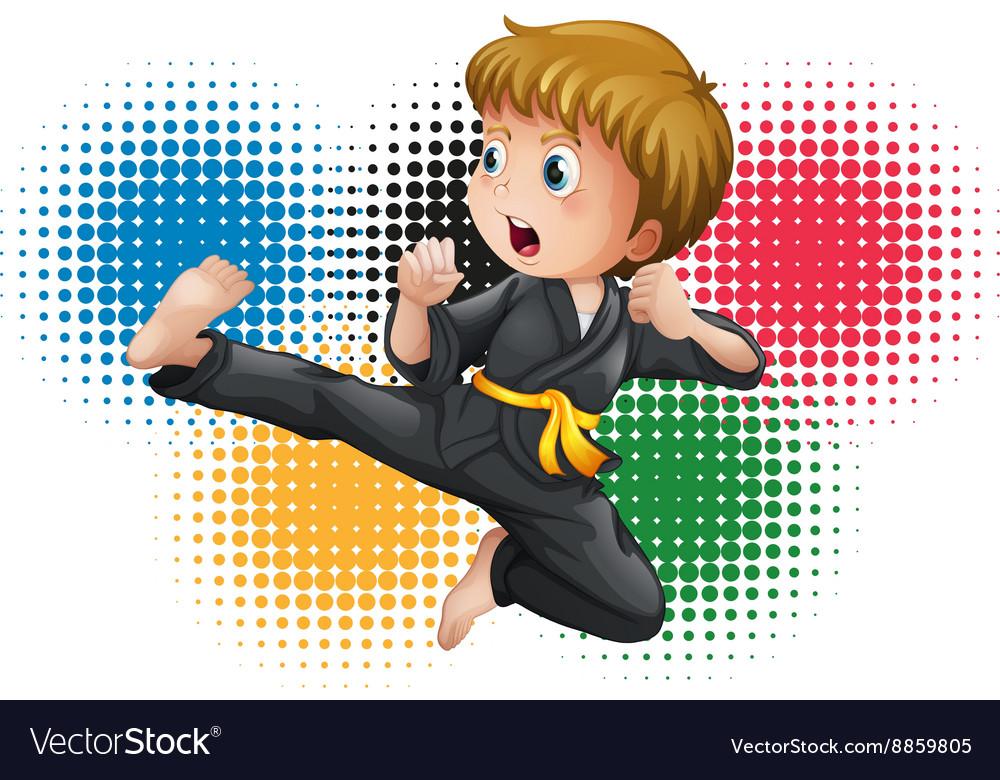 Boy in black karate uniform