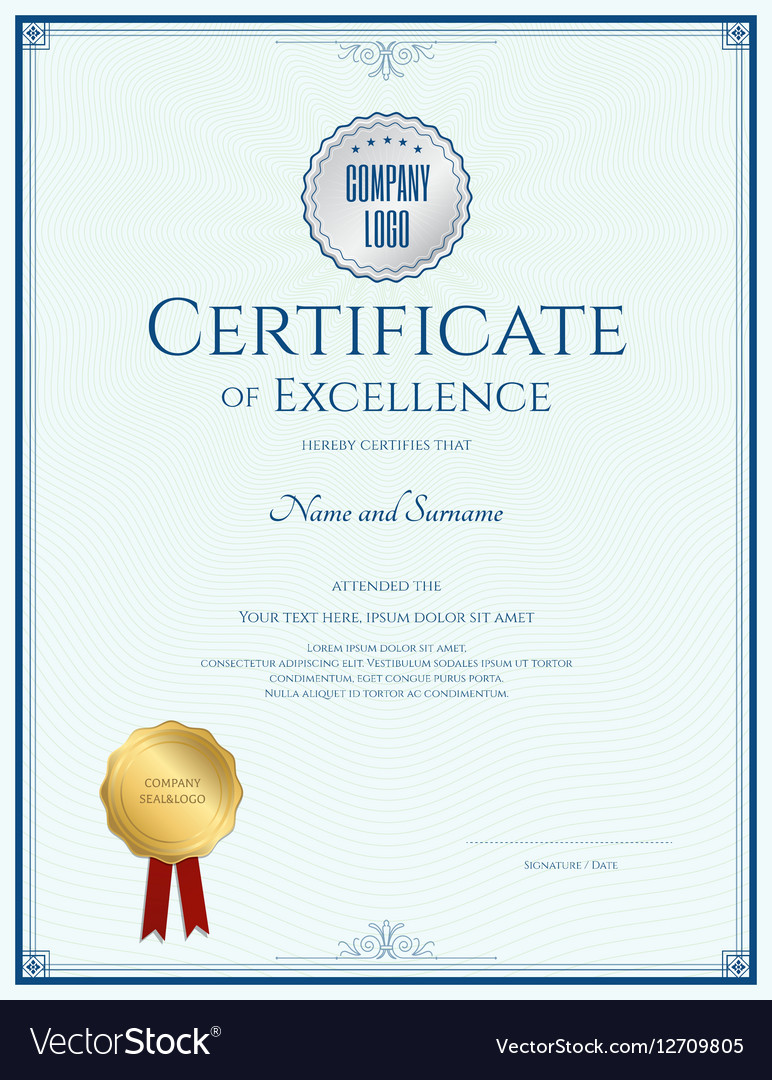 Certificate of excellence template with gold seal vector image