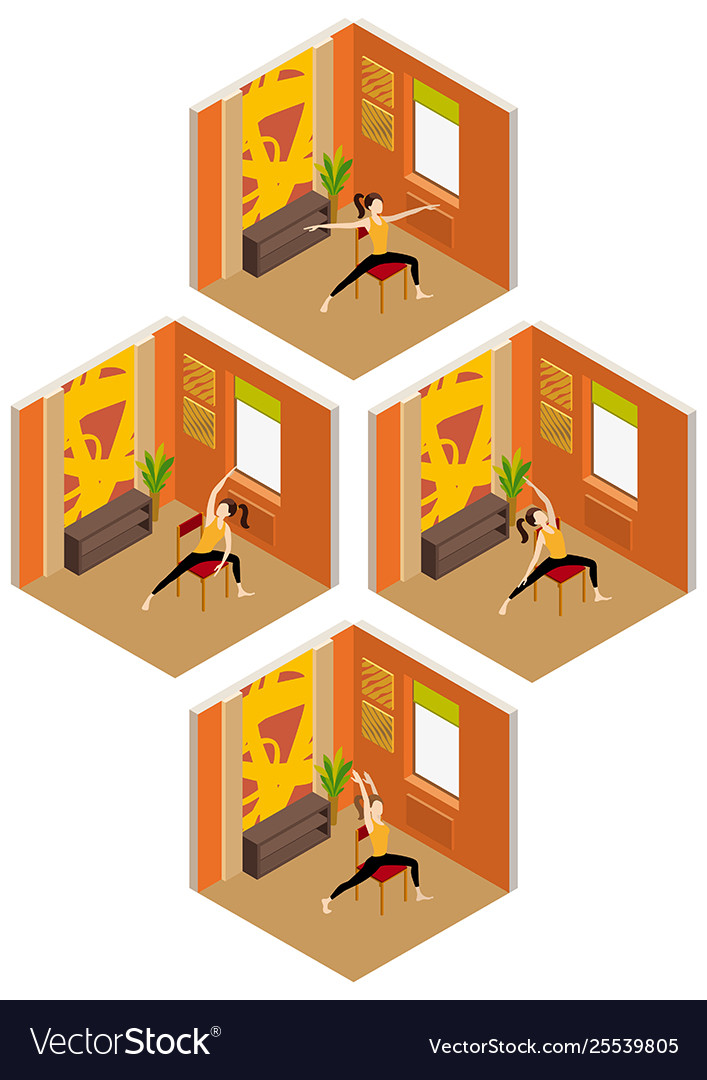 Chair Yoga In Isometric Room Royalty Free Vector Image